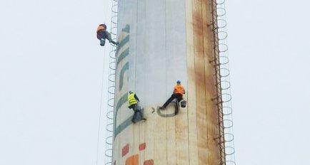 Výškové práce Olomouc - Nátěr továrního komínu